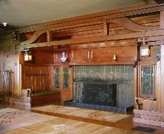 Gamble House Living room inglenook. Record ID: gg-m73. Created: 1908. Creator: [architect] Greene & Greene. Follow link to USC website to see larger photo.