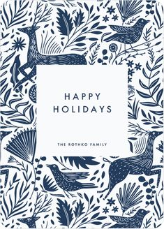 Winter Woodblock Pattern Business and Corporate Holiday Cards | Paper Culture