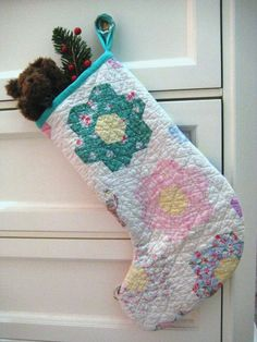 Quilted Christmas Stocking Shabby Chic by QuiltyMcQuilterson, $25.00