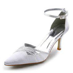 Frauen Satiniert Spule Absatz Geschlossene Zehe Absatzschuhe mit Schnalle Straß (047005037) - AmorModa
