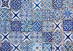 Moroccan Tile | Moroccan vintage tile background blue & white