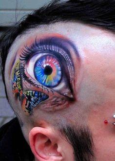 eye tattoo on head - Fairyland Tattoos Amazing 3d Tattoos, Best 3d Tattoos, Weird Tattoos, Great Tattoos, Body Art Tattoos, Small Tattoos, Maori Tattoos, Tattos, Face Tattoos