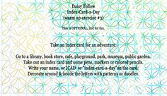 ICAD: Creative Warm-Up Exercise#3 - daisy yellow: creative prompts -