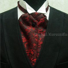 12c9f7d5f43 ascot cravat wedding Victorian old west westworld style tie red black satin  new  OldMillMercantile Black