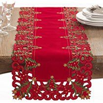 "Fennco Styles Pandoro Collection Holiday Christmas Tree Table Runner - 16"" X 68"""