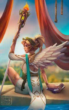 Mercy Winged Victory by on DeviantArt Overwatch Drawings, Overwatch Memes, Overwatch Fan Art, Mercy Fanart, Wonderland Events, Video Game Addiction, Hanzo Shimada, Winged Victory, Athena Goddess