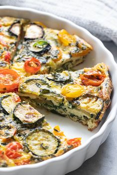 This crustless garden vegetable quiche has all the good things: tomatoes, zucchini, spinach, + basil. Perfect for brunch, lunch or dinner. Vegetarian Quiche, Vegetable Quiche, Vegetarian Recipes, Healthy Recipes, Dairy Free Quiche Recipes, Vegetable Recipes, Gluten Free Quiche, Veg Quiche Recipe, Gluten Free Dinners