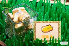Epic Minecraft Party Play Date with Gameband - Atta Girl Says 7th Birthday Party For Boys, Minecraft Party Food, Healthy Party Snacks, Party Printables, Printable Labels, Food Themes, Food Ideas, Amazing Minecraft, Rice Krispie Treats