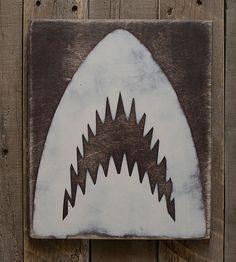 Shark Jaws Wood Sign by KokuaDesign on Etsy
