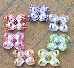 CHEVRON Bows! Visit www.facebook.com/PrincessWiggleBottom to view more!