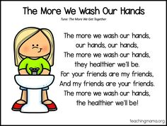 10 free handwashing songs for kids. These catchy songs and rhymes will help kids as they wash the germs away! Kindergarten Songs, Preschool Songs, Preschool Learning Activities, Toddler Learning, Preschool Classroom, Kids Songs, Teaching Kids, Classroom Ideas, Holiday Classrooms