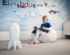 Lámpara infantil con forma de cohete