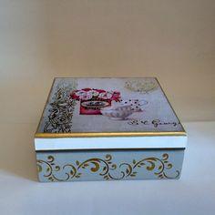 Caixa de chá com 4 divisões - flores | Atelier Marcia Campos | Elo7