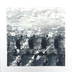 """Monotype print on rag paper. Framed in contemporary white frame. Image size 18"""" x 18"""". Frame size 34"""" x 26"""". Working mostly in oil and mixed media, Charlotte Sabbagh's work is described as soothing an"""