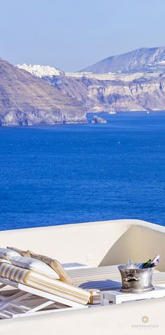 Champagne on a private terrace at the Canaves Oia Hotel and Suites in Santorini