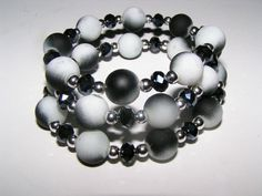 On Sale White and Black Rubber Beads Silver by EarthDreamsbySunLi