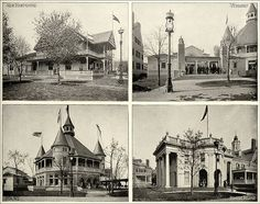 """State Buildings,"" consisting of images of the New Hampshire, Vermont, Maine, and Rhode Island buildings. From Columbian Gallery: A Portfolio of Photographs of the World's Fair, The Werner Company. 4 photographs from a series. 1893."