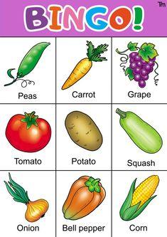 fruit and vegetable bingo free printable Free Printable Bingo Cards, Printable Activities For Kids, Worksheets For Kids, Free Printables, Bingo For Kids, Charts For Kids, Free Fruit, Fruit And Veg, List Of Vegetables