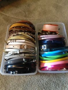 organize belts in the shoe boxes from the container store. such a good idea! Closet Organization, Organizing Belts, Wardrobe Organisation, Organisation Ideas, Organising, Organizing Ideas, Storage Ideas, Belt Storage, Dressing Room Closet
