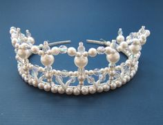 Beaded Lace Crystal and Pearl Tiara