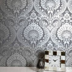 This Luxe Damask Wallpaper features an intricate damask pattern with a metallic silver finish on a charcoal grey background with a textured fabric effect look Damask Wallpaper, Wallpaper Paste, Paper Wallpaper, Adhesive Wallpaper, Home Wallpaper, Victorian Pattern, High Quality Wallpapers, Floral Style, Home Art