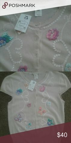 Embellished and embroidered short sleeve cardigan. Sweet and whimsical cap sleeve cardigan Nanette Lepore Sweaters Crew & Scoop Necks