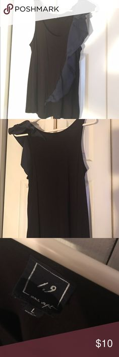 L Anthropologie black dressed up tank Black One September dressed up tank with blue accent ruffle. Only worn 1 time. Excellent condition. Cotton spandex blend sz L. Anthropologie Tops Tank Tops