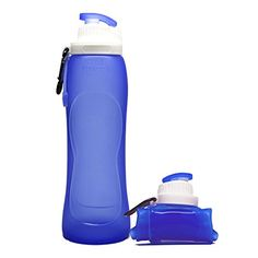 Collapsible Foldable Silicone Sports Water Bottle BPA Free FDA Approved Silicone Water Bottle for Traveling Camping Hiking Walking Running -- Click image for more details.Note:It is affiliate link to Amazon.