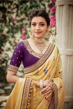 Simple blouse designs for kajal aggarwal - Indian Fashion Ideas Simple Blouse Designs, Saree Blouse Neck Designs, Saree Blouse Patterns, Sari Bluse, Kajal Agarwal Saree, Saree Look, Indian Designer Outfits, Indian Outfits, Saree Dress
