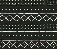 Mudcloth II (Petite) in bone on black fabric by domesticate on Spoonflower - custom fabric