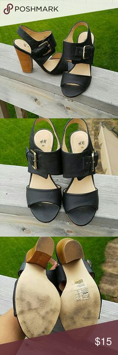 Black strap heels! H&M black strap heels with wooden heel. Peep toe. Overall good condition! Open to offers! H&M Shoes Heels