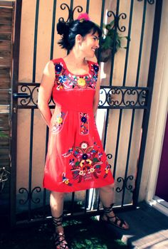 Refashion idea for mexican dress. Mexican embroidered dress red handmade #sleevelessdress #Mexican embroidery