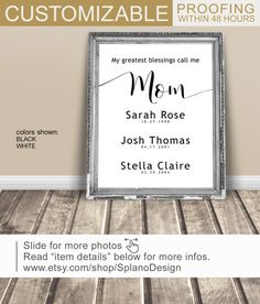 Mothers Blessings, Anniversary Gift for wife PRINT/CANVAS/DIGITAL, Gift for mother, Mothers Day Gift with special dates, Call me mom art by SplanoDesign