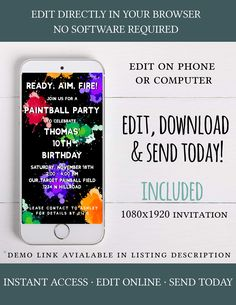 Electronic Kid Birthday party invitation digital Paintball party invitation SMS - Real Time - Diet, Exercise, Fitness, Finance You for Healthy articles ideas Birthday Invitation Message, Invitation Text, Kids Birthday Party Invitations, Birthday Parties, Electronic Invitations, Digital Invitations, Paintball Party, Colorful Birthday Party, Kids Party Themes
