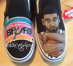 Custom hand painted San Antonio Spurs NBA Sports by DaisyGirlJoy