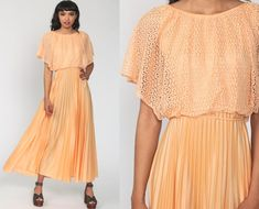 Pleated 70s Maxi Dress Orange Crochet Accordion Pleat 1970s | Etsy Pleated Skirt, High Waisted Skirt, Mexican Dresses, Vintage Party, Babydoll Dress, Boho Dress, Fit Women, 1970s Disco, Party Dress