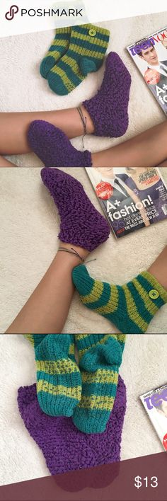 Cozy Sock Bundle Cozy sock bundle with a green striped knitted  pair with buttons and a purple popcorn textured pair. Both worn a few times. The purple pair has some piling at the bottom and the green pair has grips so you don't slip when walking(: NOT Urban. Urban Outfitters Accessories Hosiery & Socks