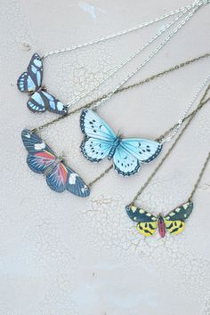 Butterfly Kisses Wooden Necklace by Run2theWild on Etsy, $15.00