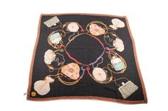 MANTERO Vintage Black Silk Jacquard SCARF Purse & Bags Print AY #MANTERO #Scarf