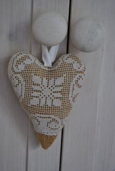 Burlap and Vintage Lace Hanging Lavender Stuffed Fabric Heart, via Etsy.