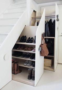 Genius Under Stairs Storage Ideas For Minimalist Home 03 Garage Shoe Storage, Coat And Shoe Storage, Entryway Shoe Storage, Understairs Shoe Storage, Entryway Ideas, Closet Storage, Understairs Ideas, Hallway Shoe Storage, Entrance Ideas