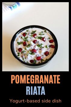 Pomegranate raita recipe – mix of sweet and savory flavors in this raita. Made with fresh pomegranate arils, cucumber, yogurt and spiced with black pepper and roasted cumin powder. Serve this raita with spicy biryani or pulao Veg Dinner Recipes, Indian Food Recipes, Healthy Recipes, Indian Side Dishes, Cucumber Yogurt, Recipe Mix, Chaat, Biryani, Curry Recipes