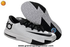 Kevin Durant Shoes Black White 599424-104 Nike Zoom KD 6 Low