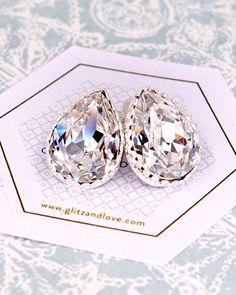 Silver Swarovski Teardrop Crystal Ear Studs, Rose Gold, Gold Earrings, bridal jewelry, bridesmaid bridal shower gifts, wedding earrings, sparkly, www.glitzandlove.com