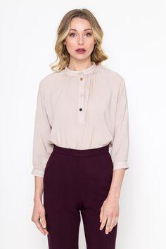 Mao Shirt / Viscose Shirt/ Vintage Shirt/ Retro Shirt/ 3/4 Sleeve Shirt Retro Shirts, Vintage Shirts, 3 4 Sleeve Shirt, Trending Outfits, Etsy, Collection, Vintage T Shirts