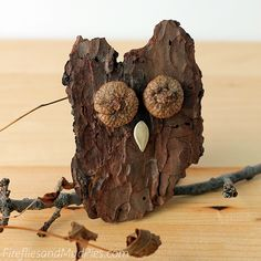 These adorable Bark Owls are the perfect nature craft for kids! Easy and totally cost-free.| AllFreeKidsCrafts.com