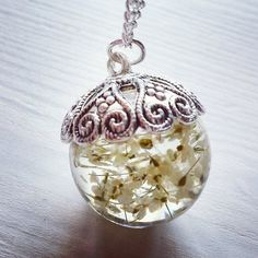 ON SALES: Queen Anne's Lace Resin Pendant silver tone Necklace
