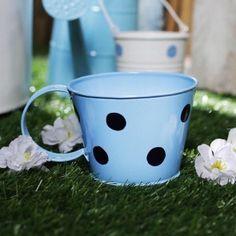 Sky Blue Polka Dot Cup Shape Planter Pot