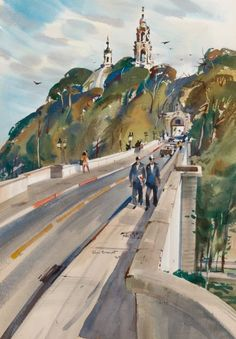 REX BRANDT (American, 1914-2000) Cabrillo Bridge : Rex Brandt(American, 1914-2000) from San Diego, California.