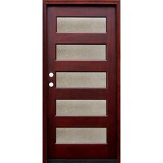 Pacific Entries Contemporary 5 Lite Seedy Stained Mahogany Wood Prehung Front Door-M55SDMR - The Home Depot